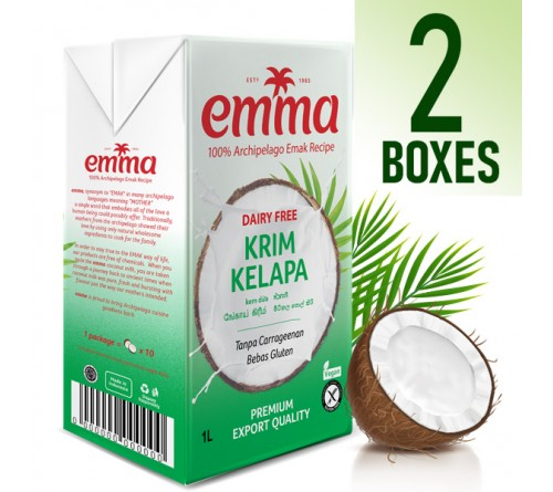 2 x Emma UHT Coconut Cream 1L, 24% Fat