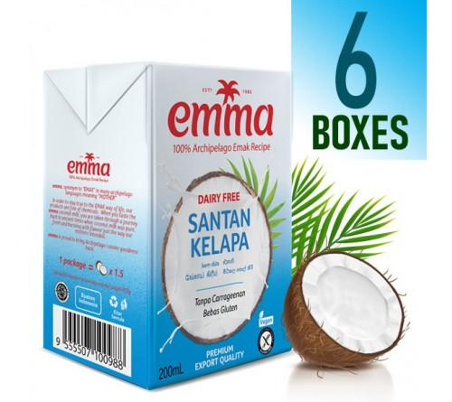 6 x Emma UHT Coconut Milk 200 mL, 18% Fat